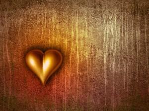 a 3d Valentine heart on grunge background